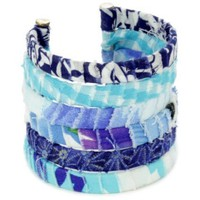 "Lee Angel ""Safina"" Hand wrapped Multi-Colored Blue Fabric Cuff-Bracelet"