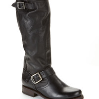 Frye Veronica Slouch Tall Leather Boots Shoes 3476602-BLK at BareNecessities.com