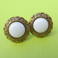 Gold and White Stud Post Earrings Metal Reflective Round Roaring 1920's Fashion Vintage Style CELEBRATION SALE! Buy 1 Get 2 Free