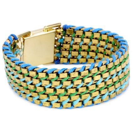"Lee Angel ""Safina"" Blue Hand Woven Thread Gold Plated Bracelet"