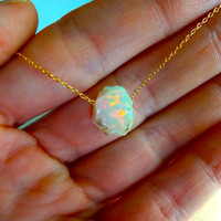 Large Rough Opal Necklace Pendant & 925 Sterling Silver or 14k Gold Fill Chain - Personalized; Gift for Her; Gift for Mom; Wedding; Unique