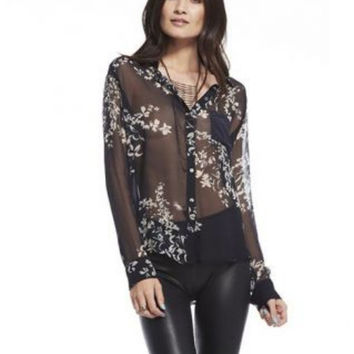 Silk Chaser Long Sleeve Sheer Floral Button Down