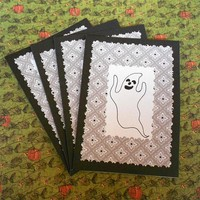 Halloween ghosts cards black white set of 4 handmade cards