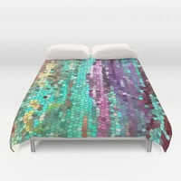 Beautiful Duvet Cover - Abstract teal and purple design, bedroom linens, bright,  jewel tone, vibrant modern decor