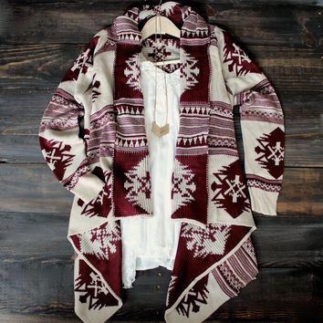 aztec waterfall cardigan | burgundy - one size / burgundy
