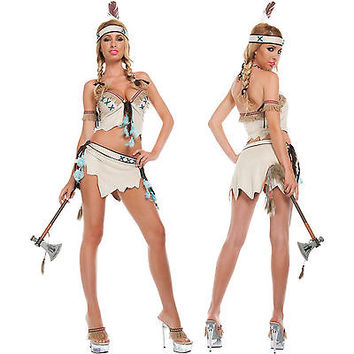 Sexy Native American Indian Princess Pocahontas Suede Halloween Costume Small