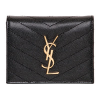 Saint Laurent Black Leather Monogram Compact Wallet