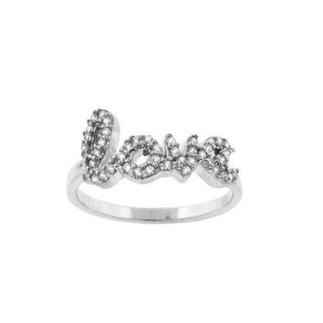 Rhodium Plated 925 Sterling Silver CZ Love Ring