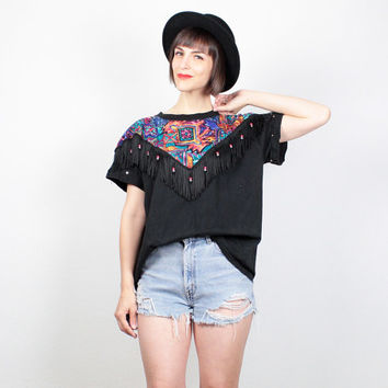 Vintage Black Tshirt 1980s Rainbow Southwestern Print T Shirt Fringe Beaded Western Shirt 80s Tee Aztec New Wave Studded Top  L Large