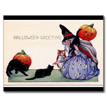 Witch Black Cats Owl Halloween Postcard