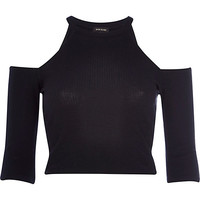 River Island Womens Black racer front cold shoulder crop top