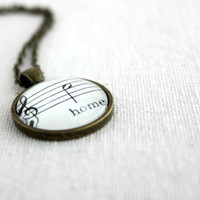 Sheet music word jewelry necklace for women vintage style bronze chain pendant with glass for mom, wife, daughter, sister, girlfriend