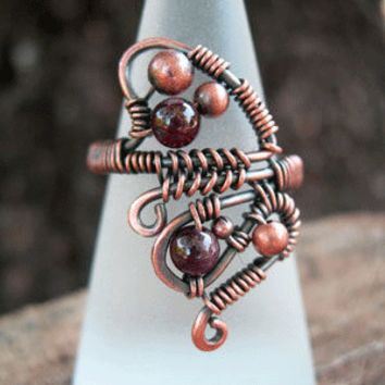Bohemian ring with garnet - size 7.5
