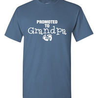 Promoted to Grandpa Shirt (request any date) New Grandpa Poppa Gramps Grand Child Mens Great Gift Idea Funny Shirt Trendy Modern Humor B-448