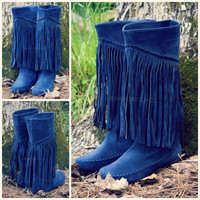 Fringe With Benefits Navy Moccasin Boots