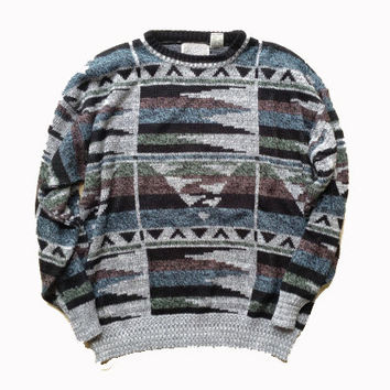 Large / XL Cosby Aztec Inspired Sweater - Grandpa Sweater - Acrylic Abstract Aztec Pattern Sweater - Fall Clothing - Gift for Him