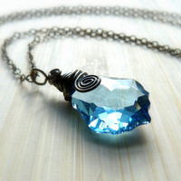 Blue Baroque Swarovski Crystal Pendant Necklace
