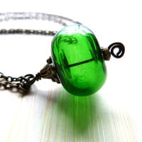 Hand Blown Glass Pendant Necklace - Green Spheroid Bauble