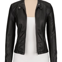 black ribbed side faux leather jacket