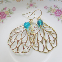 Gold Large Wing Earrings with Ocean Blue Faceted Glass -Wedding, Friend, Daughter, Friend Gift