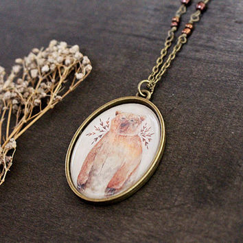 Oval Brown Bear Necklace - Thicker Border - Epoxy Glass - Antique Brass - Brown Bear and Flowers