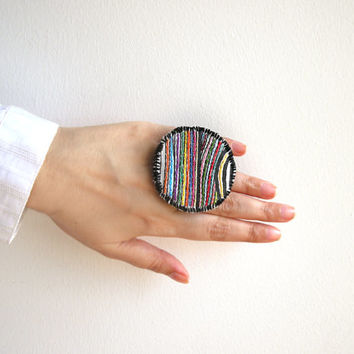 Embroidered statement ring, large fabric ring, rainbow colorful adjustable jewelry