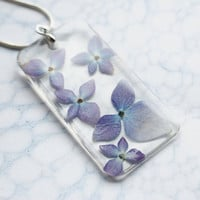 Real Flower Necklace Pale Blue Purple Hydrangea Resin Jewelry Transparent Pendant 925 Silver Plated