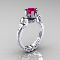 Caravaggio 14K White Gold 1.0 Ct Pigeon Blood Ruby Diamond Solitaire Engagement Ring R607-14KWGDPBR