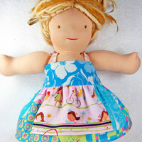 Waldorf doll dress - Bamboletta 16 inch American Girl M2M Matilda Jane clothing clothes blue pink apron - Robe poupe