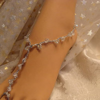 Silver Gypsy stretch foot jewelry beach wedding barefoot sandals