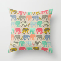 linen baby elephants and flamingos Throw Pillow by Sharon Turner   Society6