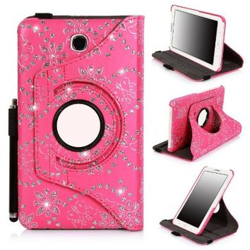 Galaxy Tab 4 7 inch case, E LV Galaxy Tab 4 7 Case Cover - Full Body Protection (Rotating Stand) PU Leather Smart Case Cover Shell for Samsung Galaxy Tab 4 7 inch (2014) with 1 Stylus [ONLY COMPATIABLE WITH SAMSUNG GALAXY TAB 4 7.0 INCH (2014)]