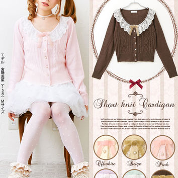 Tulle lace frill collar♪Mini heart cable knitted cardigan◆9/25 ships planned