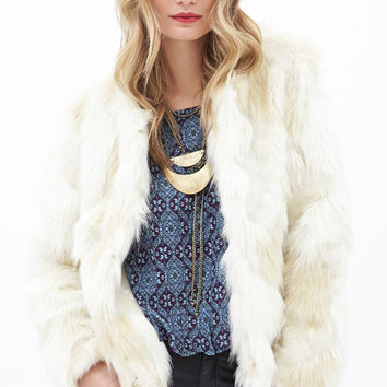 Collarless Faux Fur Jacket - INSPIRED BY THE RUNWAY - 2000060146 - Forever 21 UK