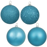 Vickerman 2.4 in. Turquoise 4 Finish Ornament Assorted - Set of 24 | www.hayneedle.com