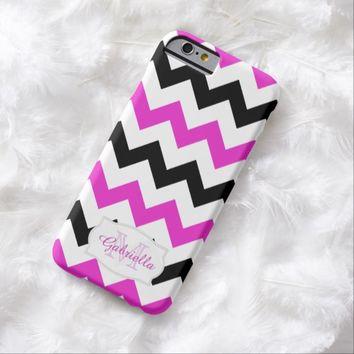 Black & Pink Chevron: Personalized: iPhone 6 case