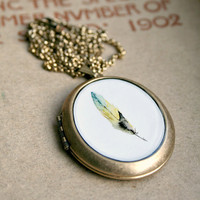 Feather Locket - Green and Yellow Feather Watercolor Painting Wearable Art Locket Necklace