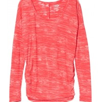 calypso coral cinched side long sleeve striped burnout tee
