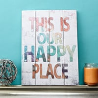 "This Is Our Happy Place - 30"" x 40"" Slatted Wood Art Sign Colorful Watercolor on distressed white Typography Home Wall Decor by Misty Diller"
