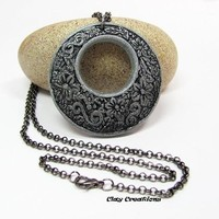 Silver and Black Pendant, Polymer Clay Necklace, Clay Jewelry