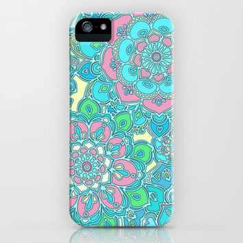 Candy Doodles, floral doodles in pink and blue iPhone & iPod Case by Micklyn