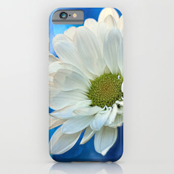 White Daisy on Blue iPhone & iPod Case by micklyn