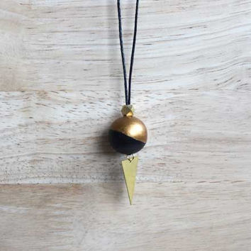 long wooden pendant necklace bronze gold, dark brown // simple boho necklace with hand painted wooden bead - eco-friendly jewelry