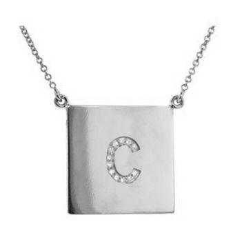 Sterling Silver Square Diamond Initial Necklace: Personalized Boutique, Inc.