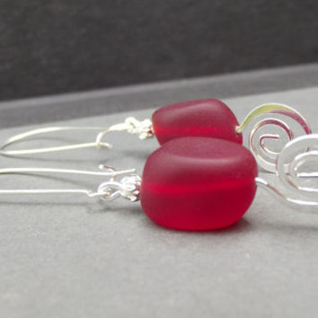 Red Sea Glass Earrings:  Christmas Red and Hammered Silver Swirl Spiral Beach Holiday Jewelry, Long Dangle Drop Earrings