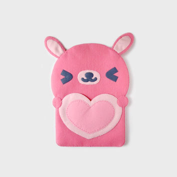 Cute Pink Rabbit With Heart Ipad Case, Ipad Sleeve. Button Closure. Mini iPad, Kindle case, Tab sleeve, Notes, Gadget Bag, Cosmetic Pouch.