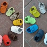 Baby Leather Moccasins - 28 colors, custom sizes 0-24 months!