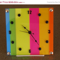 Time For A Sale wall shelf clock bright colorful stripe with or without stand multicolor ID SS 1