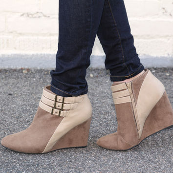 """Marilyn"" Suede Wedge Booties with Leather Contrast Ankle Straps - Cam – H.C.B."
