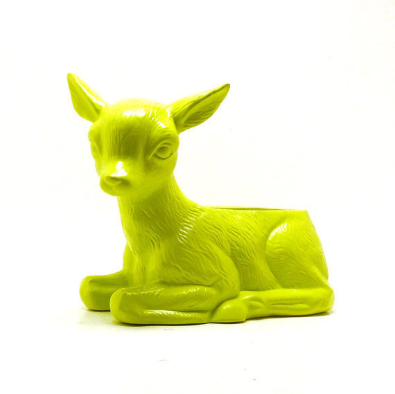 neon lime green deer ceramic planter  //  kitschy upcycled planters, garden, woodland home accents, patio, nursery, summer, mod, gardening